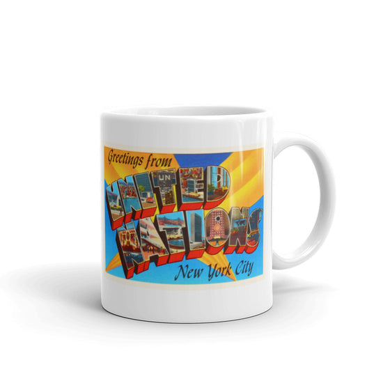 Mug – United Nations NY Greetings From New York Big Large Letter Postcard Retro Travel Gift Souvenir Coffee or Tea Cup - American Yesteryear