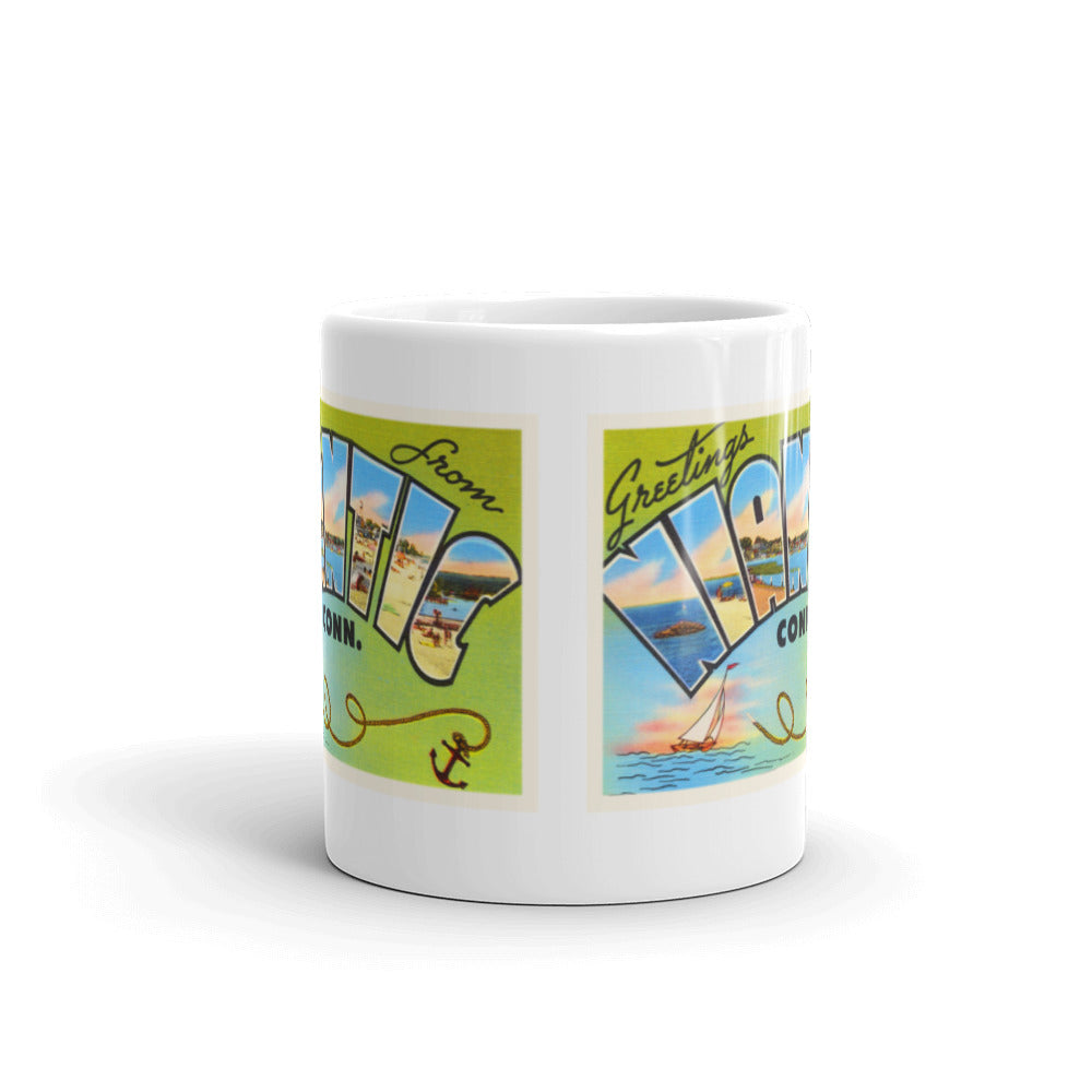 Mug – Niantic CT Greetings From Connecticut Big Large Letter Postcard Retro Travel Gift Souvenir Coffee or Tea Cup - American Yesteryear