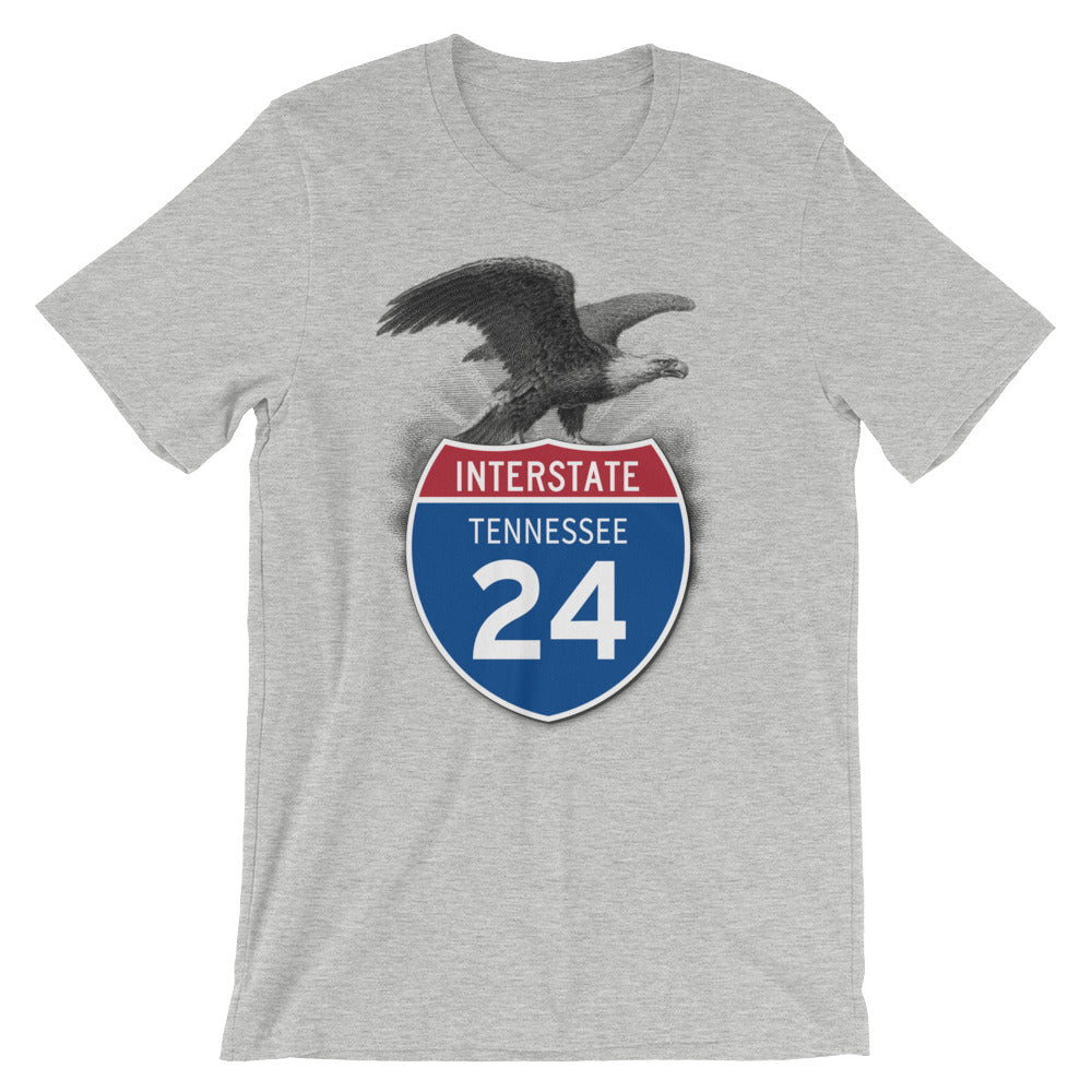 Tennessee TN I-24 Highway Interstate Shield TShirt Tee - American Yesteryear