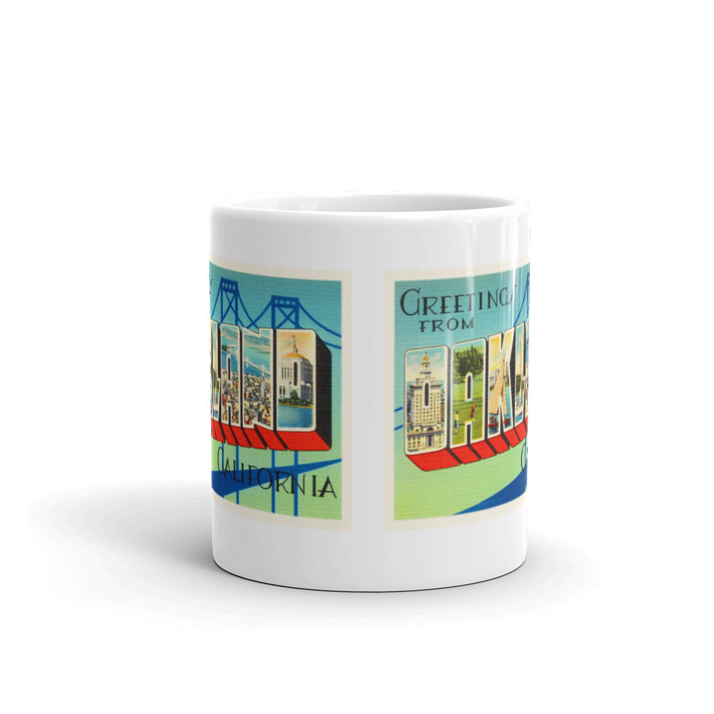 Mug – Oakland CA Greetings From California Big Large Letter Postcard Retro Travel Gift Souvenir Coffee or Tea Cup - American Yesteryear