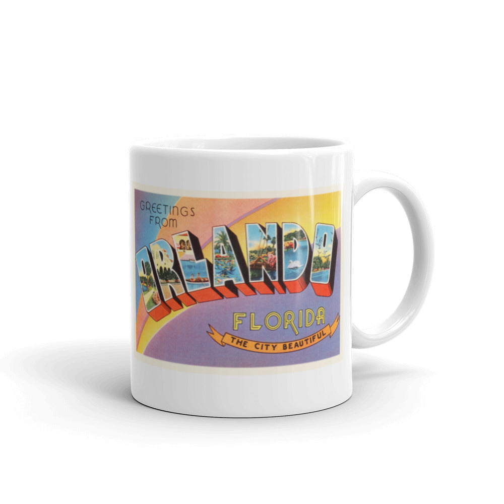 Mug – Orlando FL Greetings From Florida Big Large Letter Postcard Retro Travel Gift Souvenir Coffee or Tea Cup