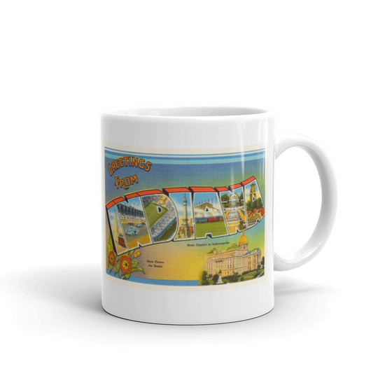 Mug – State of Indiana Greetings From IN Big Large Letter Postcard Retro Travel Gift Souvenir Coffee or Tea Cup - American Yesteryear