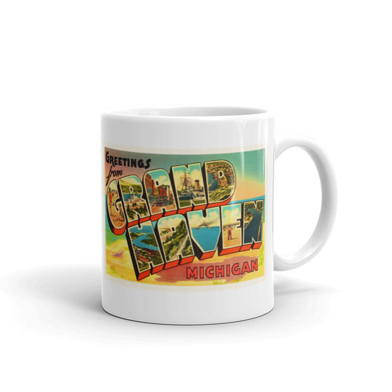 Mug – Grand Haven MI Greetings From Michigan Big Large Letter Postcard Retro Travel Gift Souvenir Coffee or Tea Cup