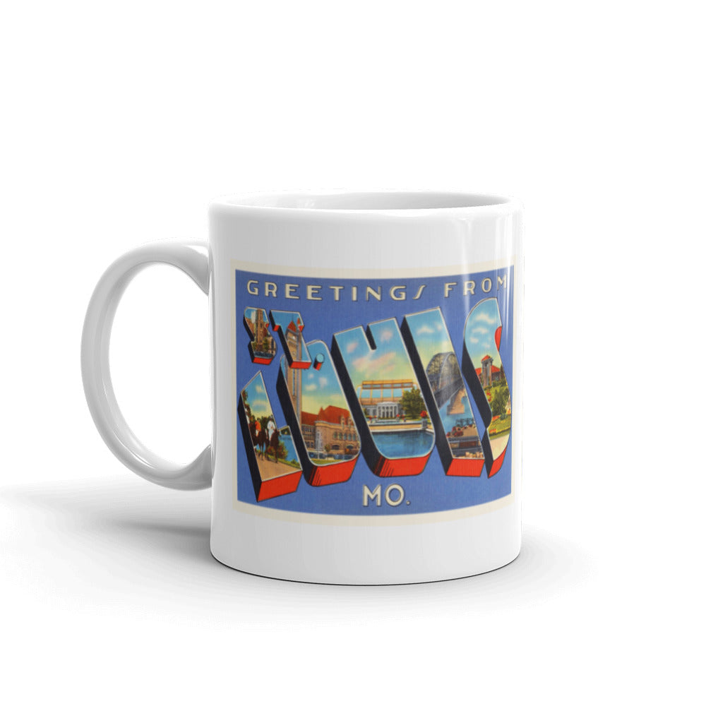 Mug – St-Louis MO Greetings From Missouri Big Large Letter Postcard Retro Travel Gift Souvenir Coffee or Tea Cup - American Yesteryear
