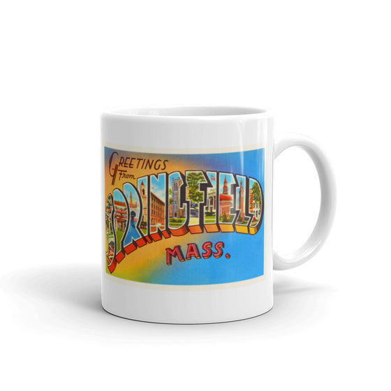 Mug – Springfield MA Greetings From Massachusetts Big Large Letter Postcard Retro Travel Gift Souvenir Coffee or Tea Cup - American Yesteryear