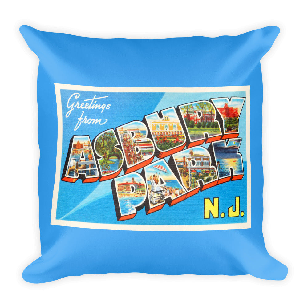 Throw Pillow - Asbury Park New Jersey NJ Big Large Letter Postcard Souvenir - American Yesteryear