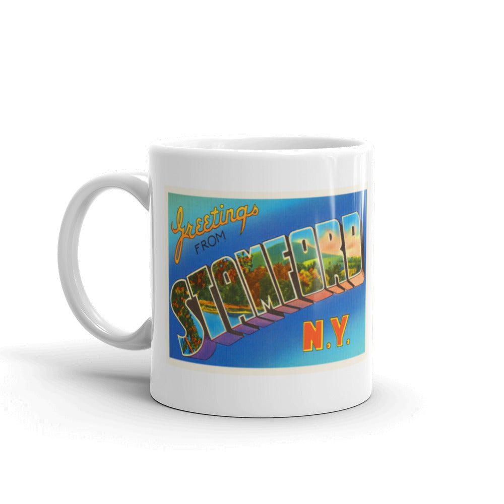 Mug – Stamford NY Greetings From New York Big Large Letter Postcard Retro Travel Gift Souvenir Coffee or Tea Cup - American Yesteryear