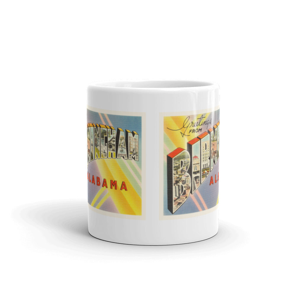 Mug – Birmingham AL Greetings From Alabama Big Large Letter Postcard Retro Travel Gift Souvenir Coffee or Tea Cup - American Yesteryear