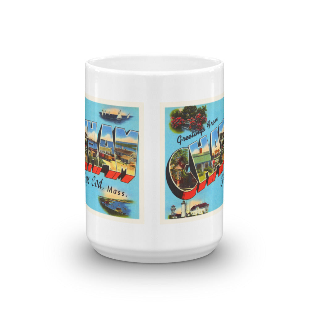 Mug – Chatham Cape Cod MA Greetings From Massachusetts Big Large Letter Postcard Retro Travel Gift Souvenir Coffee or Tea Cup - American Yesteryear