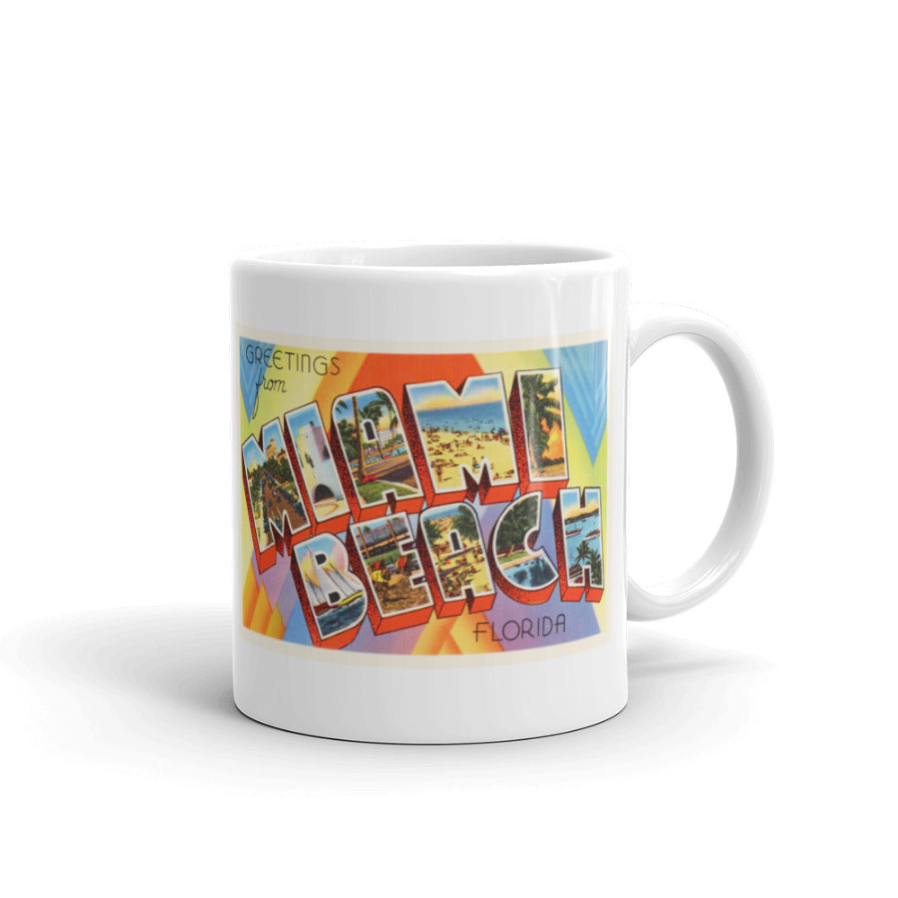 Mug – Miami Beach FL Greetings From Florida Big Large Letter Postcard Retro Travel Gift Souvenir Coffee or Tea Cup - American Yesteryear