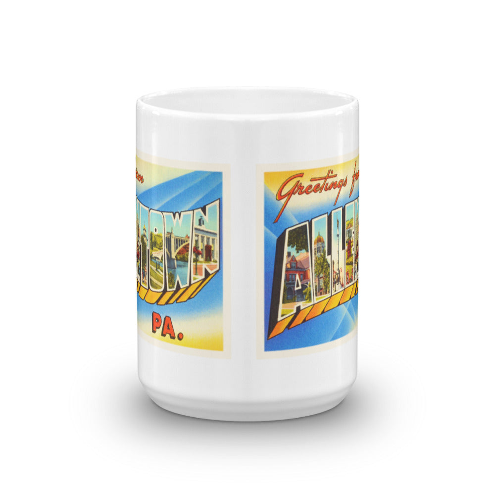 Mug – Allentown PA Greetings From Pennsylvania Big Large Letter Postcard Retro Travel Gift Souvenir Coffee or Tea Cup - American Yesteryear