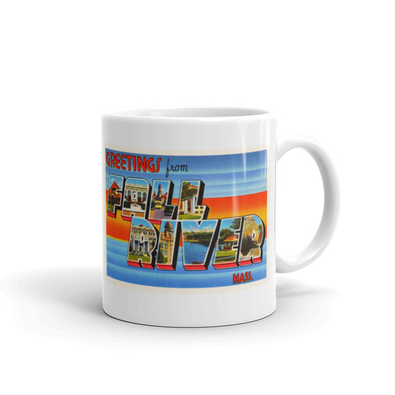Mug – Fall River MA Greetings From Massachusetts Big Large Letter Postcard Retro Travel Gift Souvenir Coffee or Tea Cup - American Yesteryear