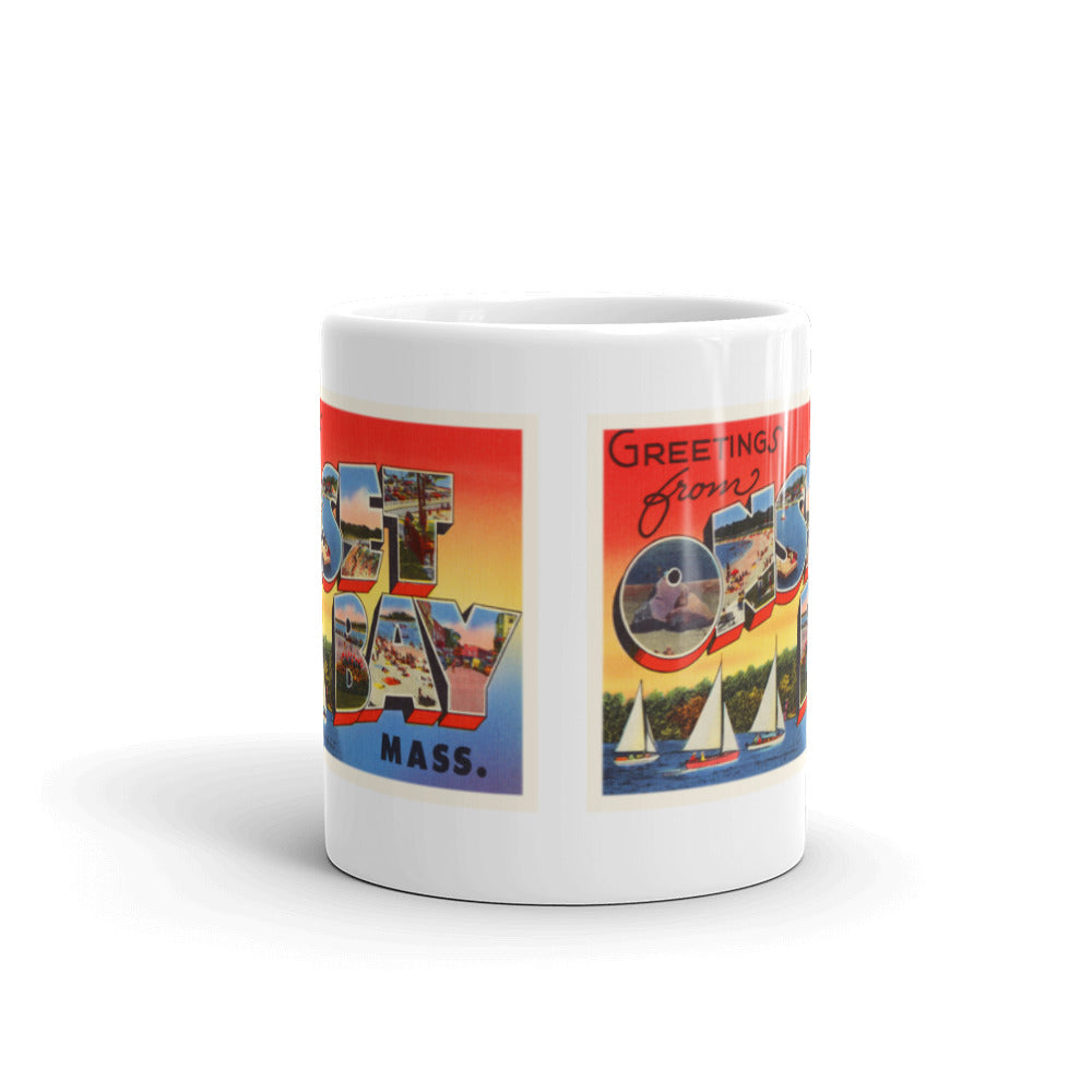 Mug – Onset Bay MA Greetings From Massachusetts Big Large Letter Postcard Retro Travel Gift Souvenir Coffee or Tea Cup - American Yesteryear