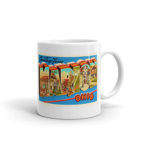 Mug – Marion OH Greetings From Ohio Big Large Letter Postcard Retro Travel Gift Souvenir Coffee or Tea Cup - American Yesteryear