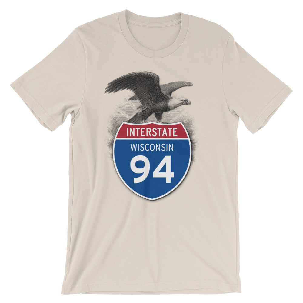 Wisconsin WI I-94 Highway Interstate Shield TShirt Tee - American Yesteryear