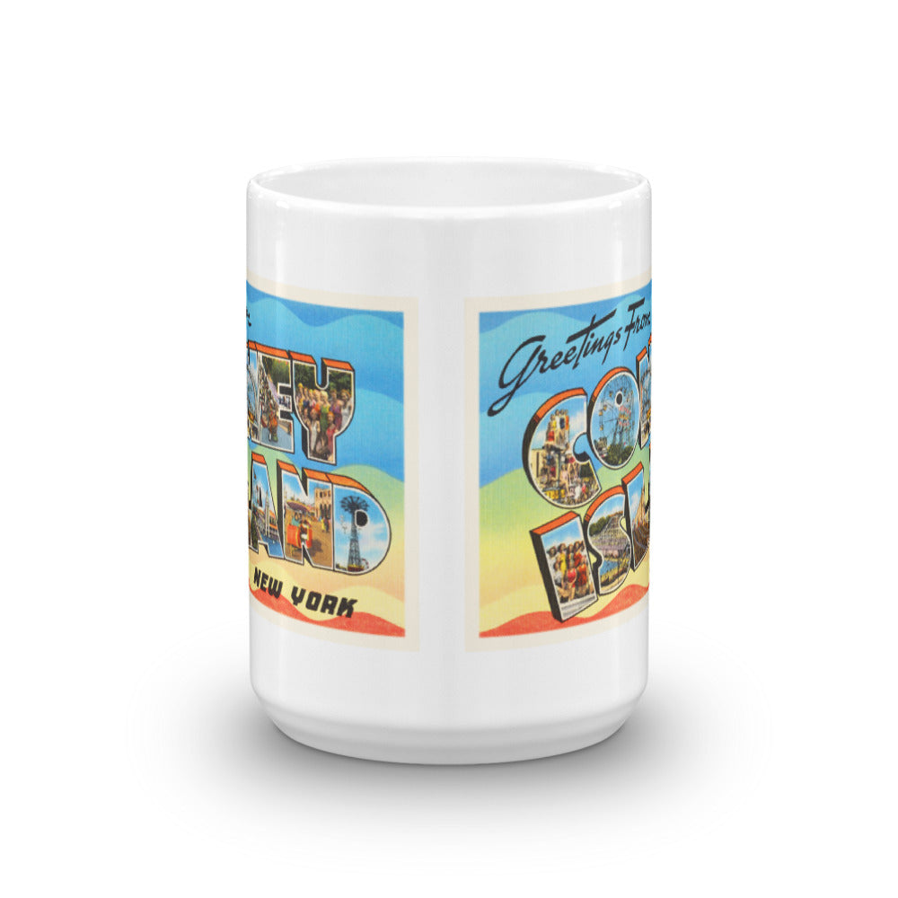 Mug – Coney Island #2 NY Greetings From New York Big Large Letter Postcard Retro Travel Gift Souvenir Coffee or Tea Cup - American Yesteryear
