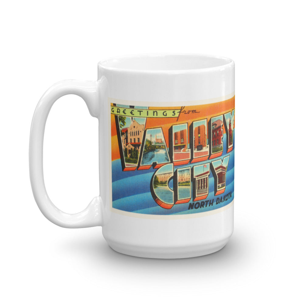 Mug – Valley City ND Greetings From North Dakota Big Large Letter Postcard Retro Travel Gift Souvenir Coffee or Tea Cup - American Yesteryear