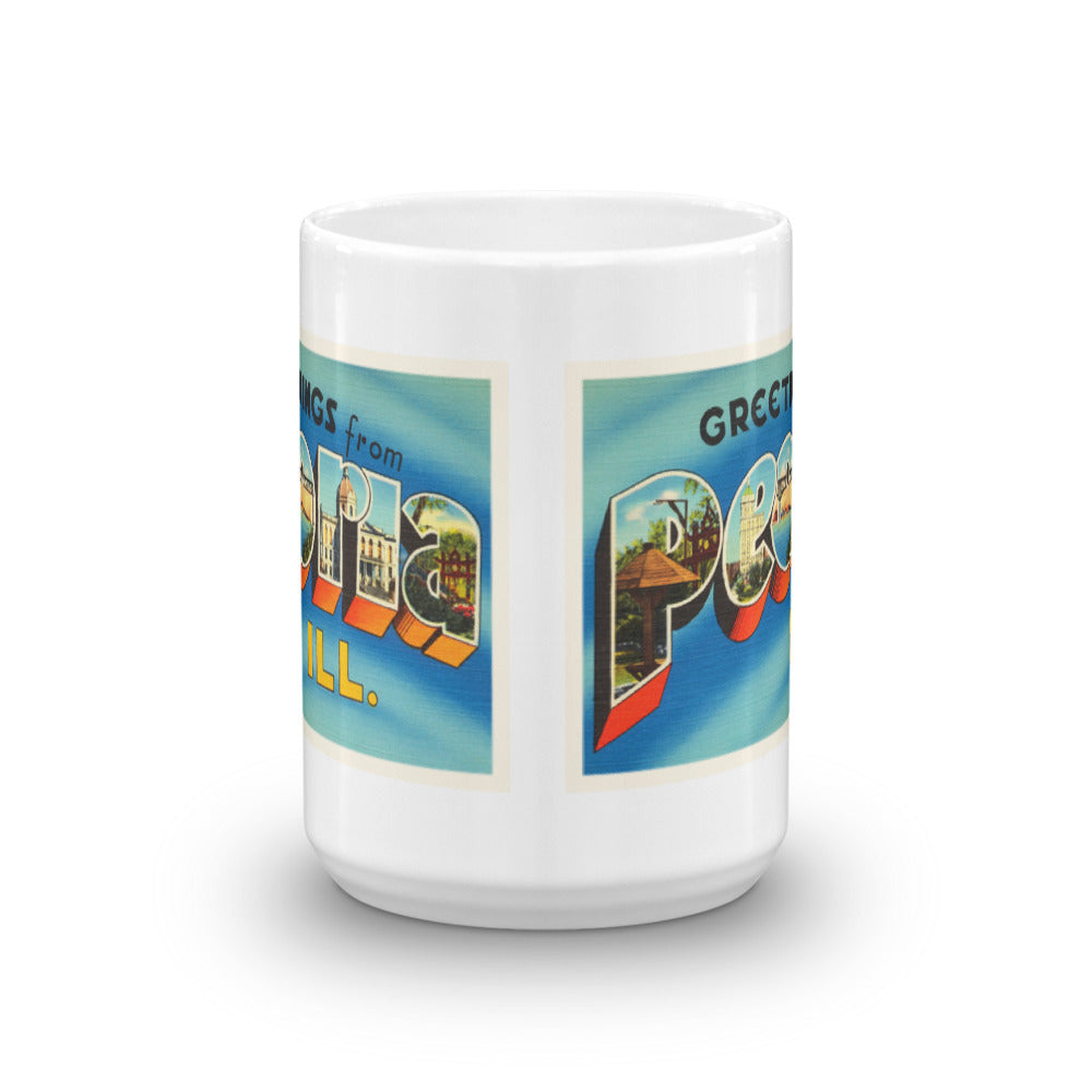 Mug – Peoria IL Greetings From Illinois Big Large Letter Postcard Retro Travel Gift Souvenir Coffee or Tea Cup - American Yesteryear