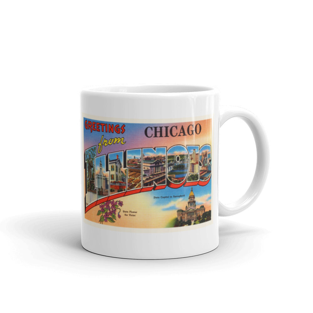 Mug – Chicago IL #2 Greetings From Illinois Big Large Letter Postcard Retro Travel Gift Souvenir Coffee or Tea Cup - American Yesteryear
