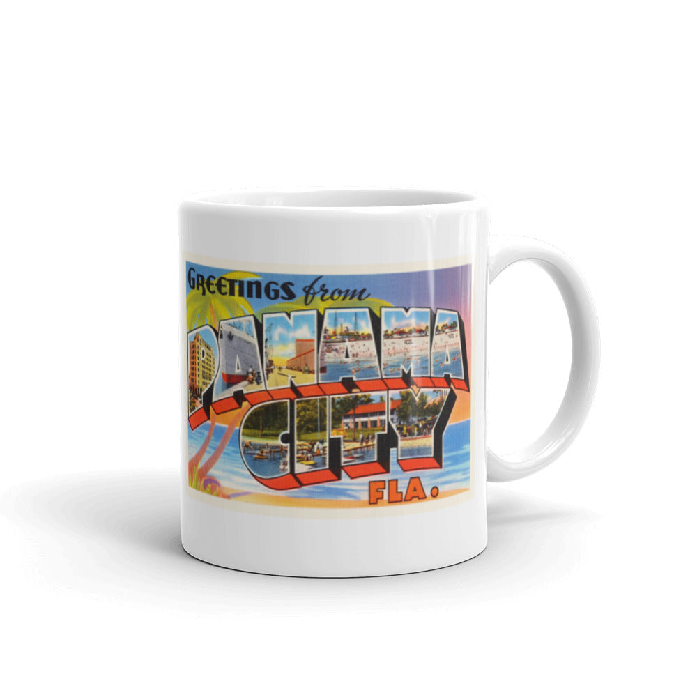 Mug – Panama City FL Greetings From Florida Big Large Letter Postcard Retro Travel Gift Souvenir Coffee or Tea Cup