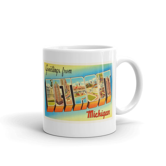 Mug – Detroit MI Greetings From Michigan Big Large Letter Postcard Retro Travel Gift Souvenir Coffee or Tea Cup - American Yesteryear