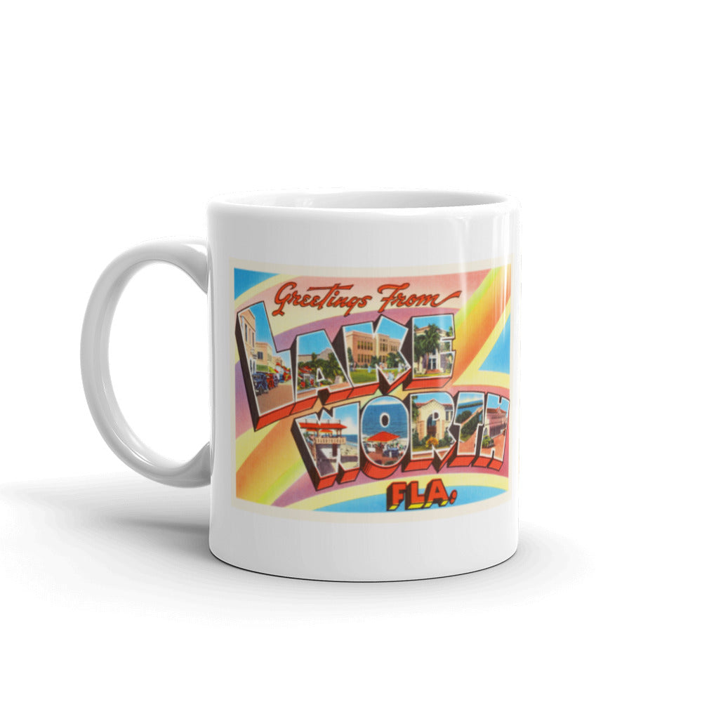 Mug – Lake Worth FL Greetings From Florida Big Large Letter Postcard Retro Travel Gift Souvenir Coffee or Tea Cup - American Yesteryear