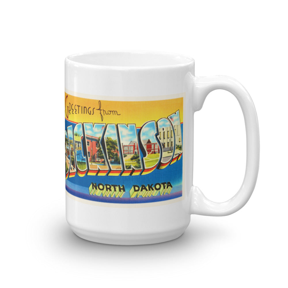Mug – Dickinson ND Greetings From North Dakota Big Large Letter Postcard Retro Travel Gift Souvenir Coffee or Tea Cup - American Yesteryear