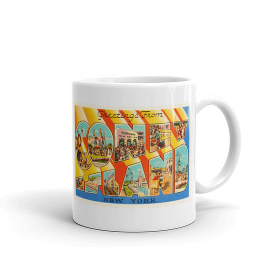 Mug – Coney Island NY Greetings From New York Big Large Letter Postcard Retro Travel Gift Souvenir Coffee or Tea Cup - American Yesteryear