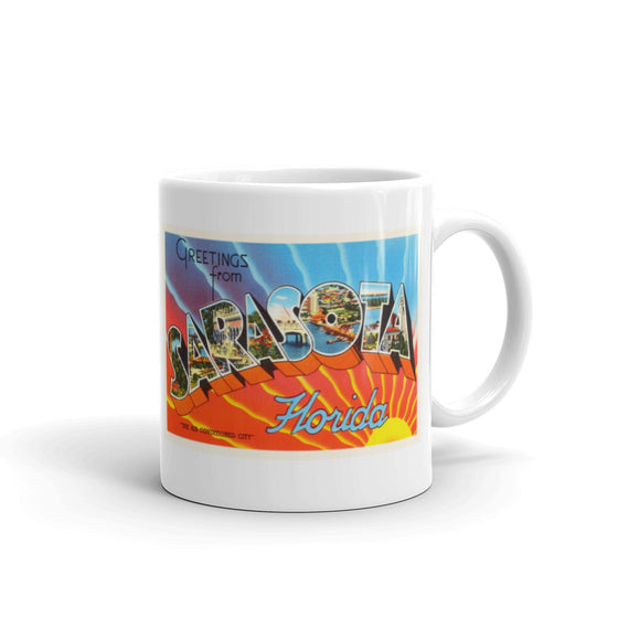 Mug – Sarasota FL Greetings From Florida Big Large Letter Postcard Retro Travel Gift Souvenir Coffee or Tea Cup - American Yesteryear