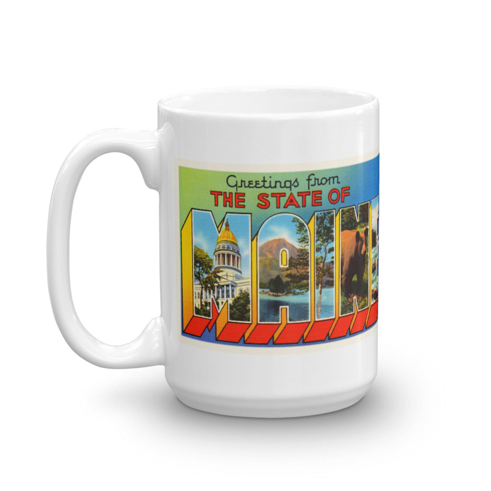 Mug – State of Maine #2 Greetings From ME Big Large Letter Postcard Retro Travel Gift Souvenir Coffee or Tea Cup - American Yesteryear