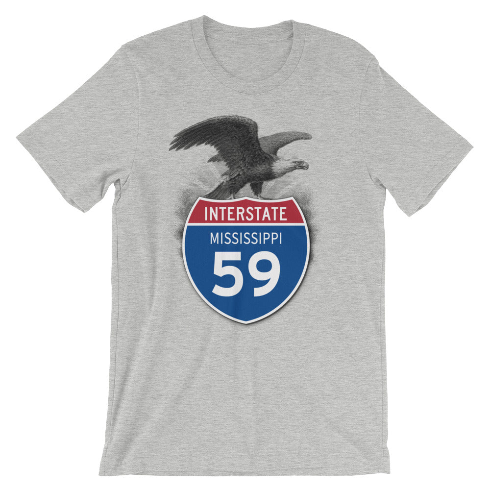 Mississippi MS I-59 Highway Interstate Shield Tshirt Tee - American Yesteryear