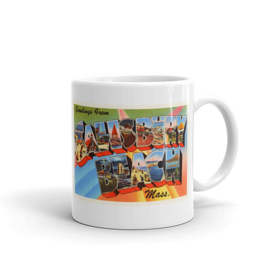 Mug – Salisbury Beach MA Greetings From Massachusetts Big Large Letter Postcard Retro Travel Gift Souvenir Coffee or Tea Cup - American Yesteryear