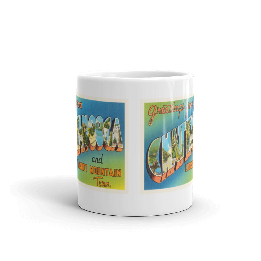 Mug – Chattanooga TN Greetings From Tennessee Big Large Letter Postcard Retro Travel Gift Souvenir Coffee or Tea Cup - American Yesteryear