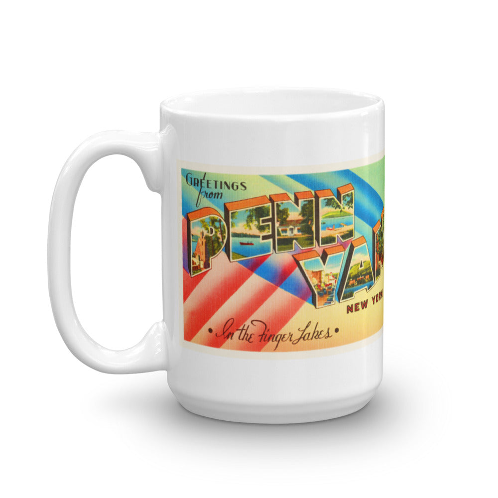 Mug – Penn Yan NY Greetings From New York Big Large Letter Postcard Retro Travel Gift Souvenir Coffee or Tea Cup - American Yesteryear