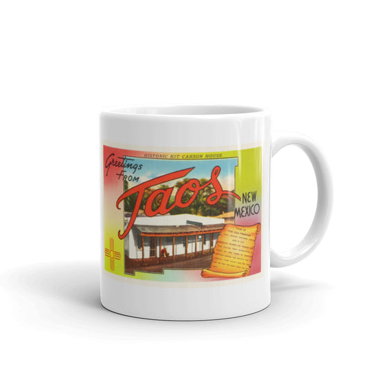 Mug – Taos NM Greetings From New Mexico Big Large Letter Postcard Retro Travel Gift Souvenir Coffee or Tea Cup