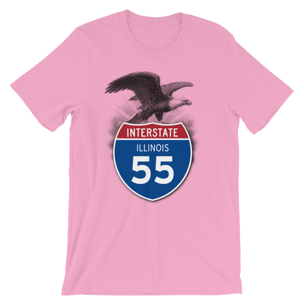 Illinois IL I-55 Highway Interstate Shield T-Shirt Tee - American Yesteryear