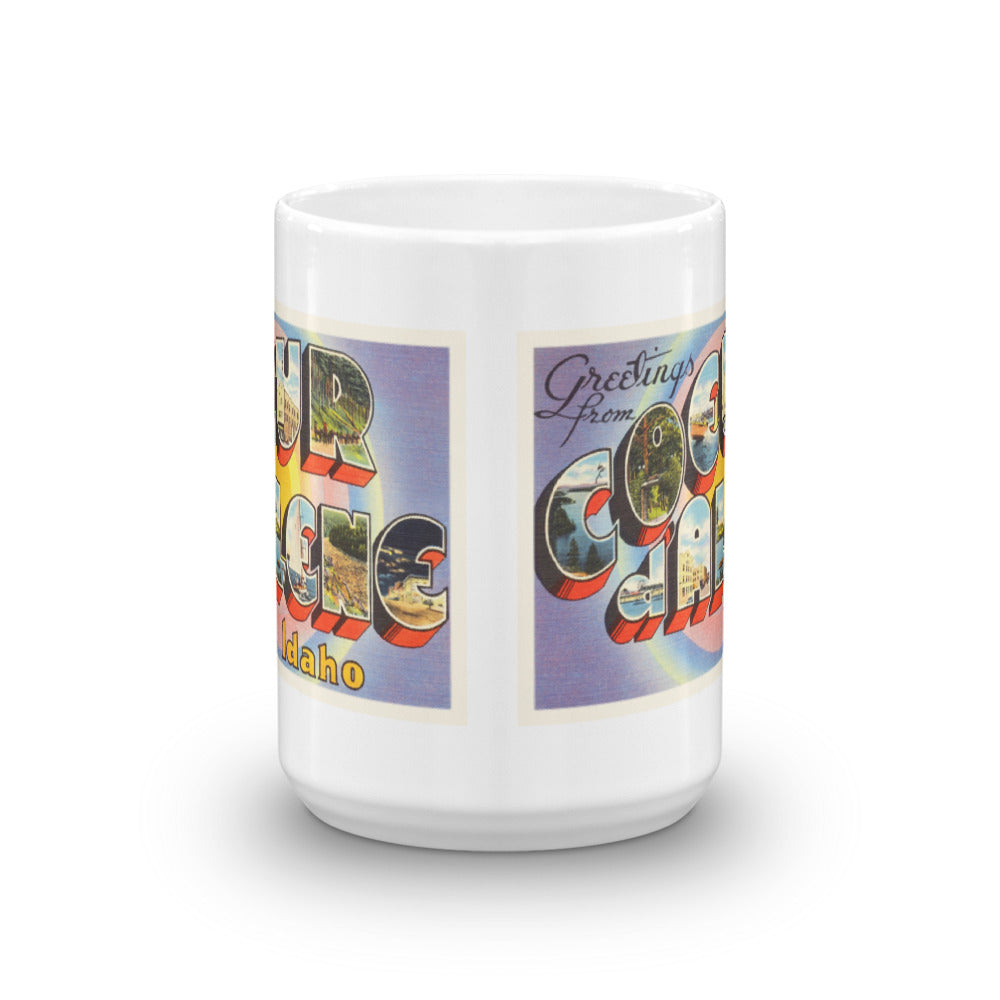 Mug – Coeur d'Alene ID Greetings From Idaho Big Large Letter Postcard Retro Travel Gift Souvenir Coffee or Tea Cup - American Yesteryear