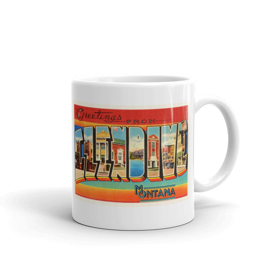 Mug – Glendive MT Greetings From Montana Big Large Letter Postcard Retro Travel Gift Souvenir Coffee or Tea Cup - American Yesteryear