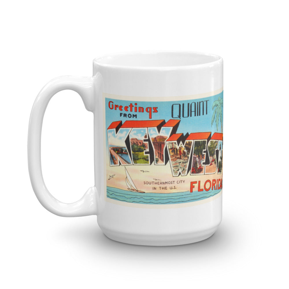 Mug – Key West FL Greetings From Florida Big Large Letter Postcard Retro Travel Gift Souvenir Coffee or Tea Cup - American Yesteryear