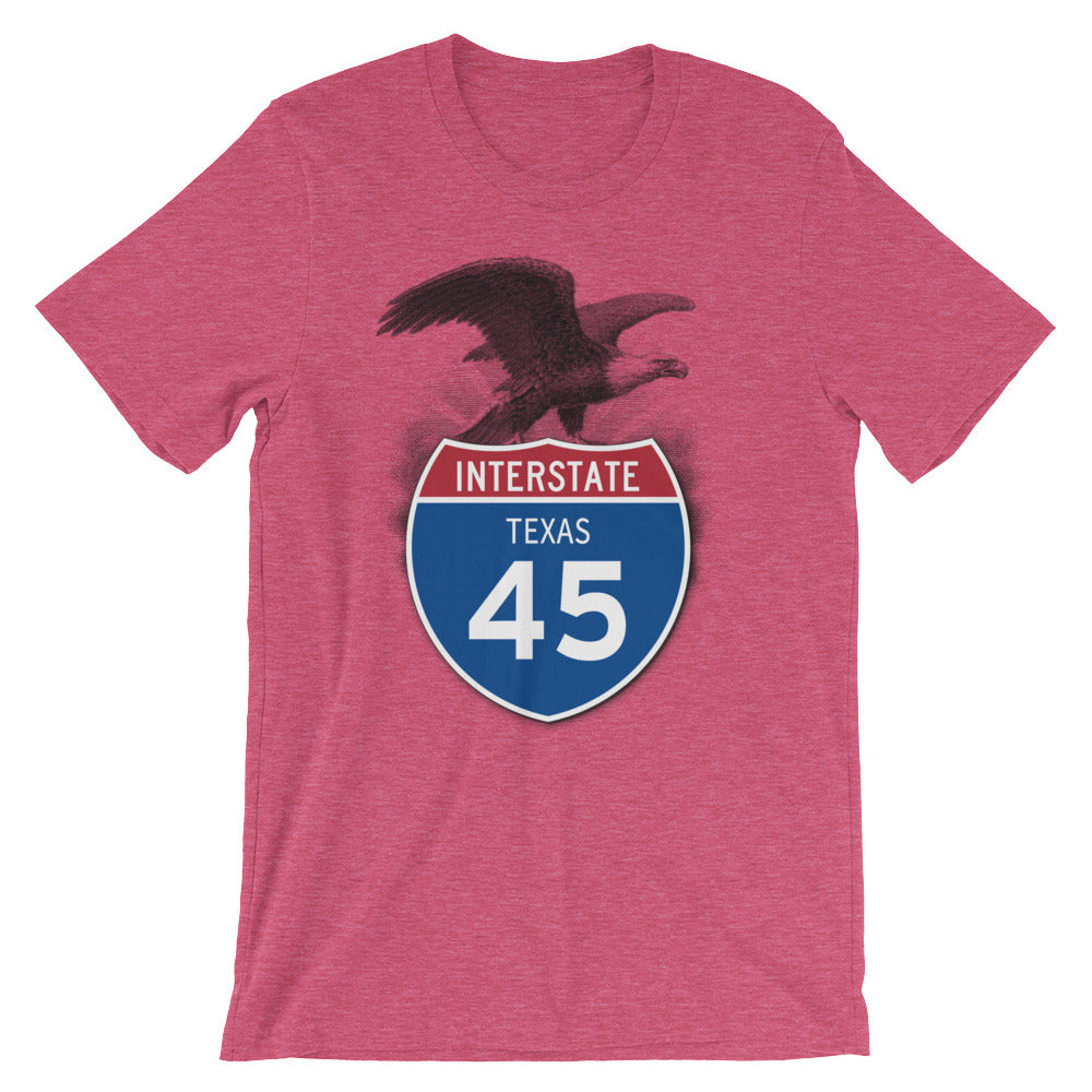 Texas TX I-45 Highway Interstate Shield TShirt Tee - American Yesteryear