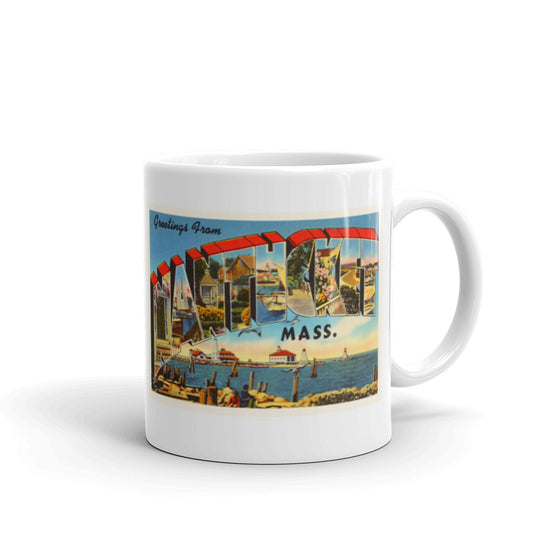 Mug – Nantucket MA Greetings From Massachusetts Big Large Letter Postcard Retro Travel Gift Souvenir Coffee or Tea Cup - American Yesteryear