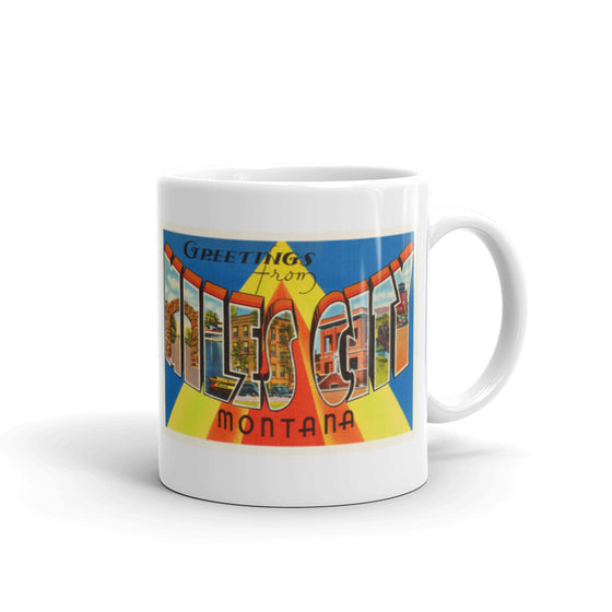 Mug – Miles City MT Greetings From Montana Big Large Letter Postcard Retro Travel Gift Souvenir Coffee or Tea Cup - American Yesteryear