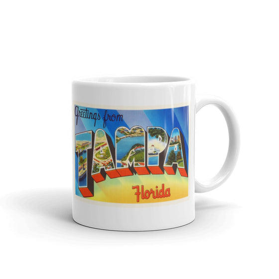 Mug – Tampa FL Greetings From Florida Big Large Letter Postcard Retro Travel Gift Souvenir Coffee or Tea Cup - American Yesteryear