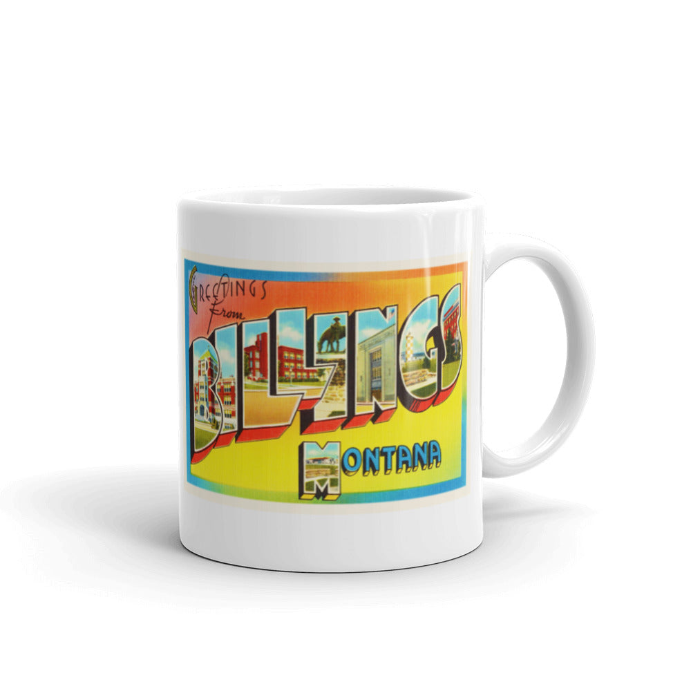 Mug – Billings MT Greetings From Montana Big Large Letter Postcard Retro Travel Gift Souvenir Coffee or Tea Cup - American Yesteryear