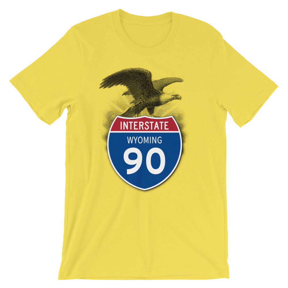 Wyoming WY I-90 Highway Interstate Shield TShirt Tee - American Yesteryear
