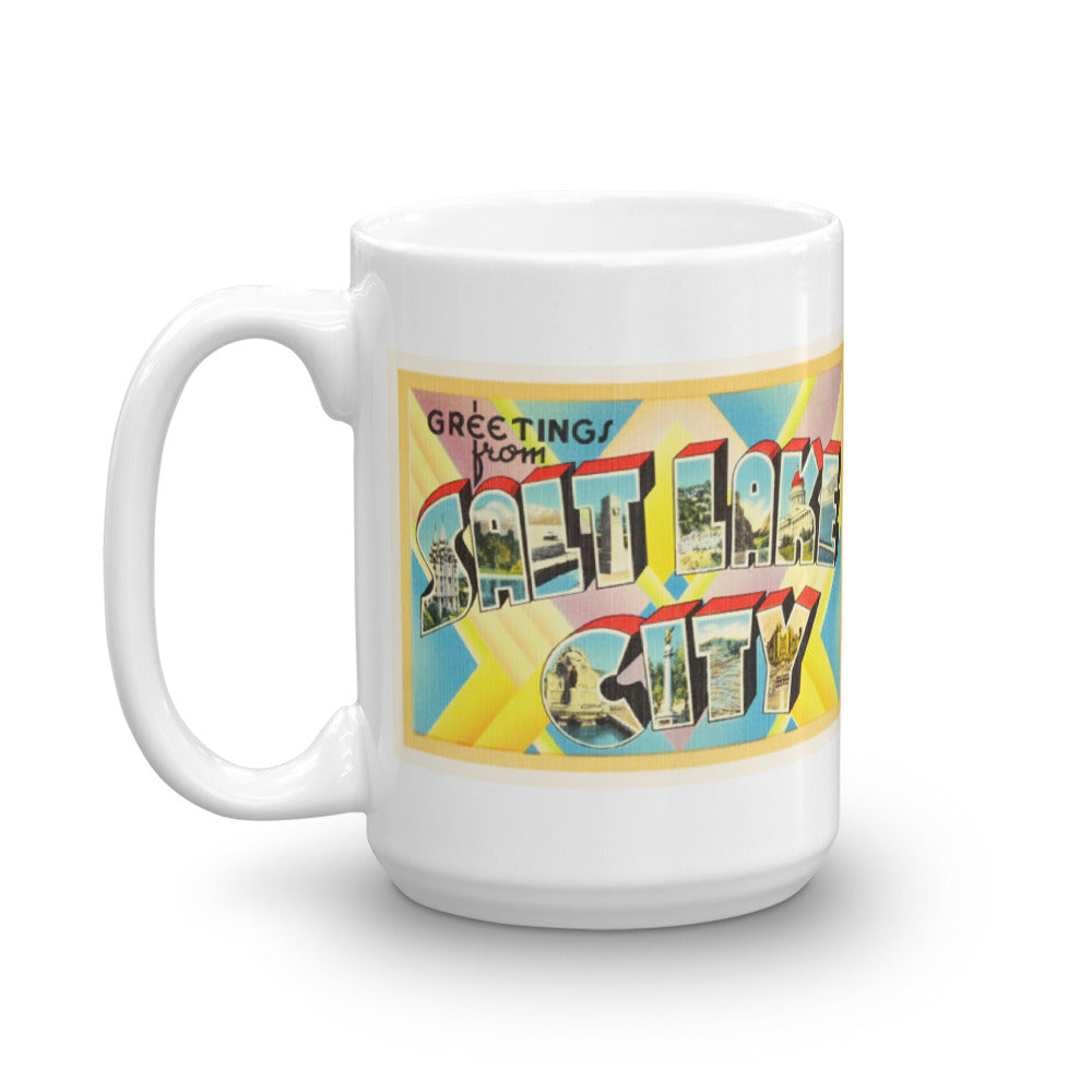 Mug – Salt Lake City UT Greetings From Utah Big Large Letter Postcard Retro Travel Gift Souvenir Coffee or Tea Cup - American Yesteryear