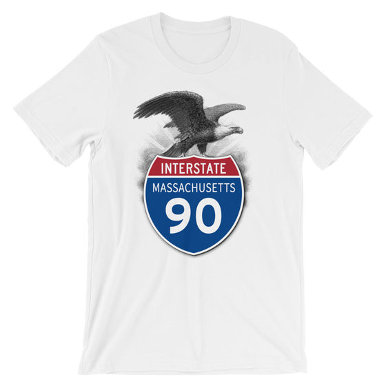Massachusetts MA I-90 Highway Interstate Shield TShirt Tee - American Yesteryear
