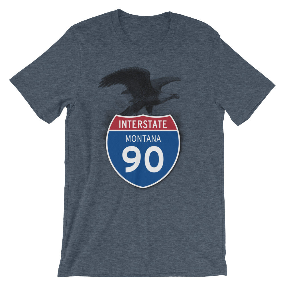Montana MT I-90 Highway Interstate Shield TShirt Tee - American Yesteryear