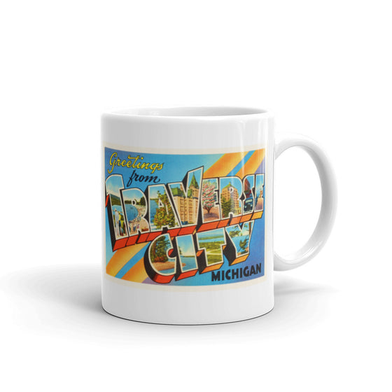 Mug – Traverse City MI Greetings From Michigan Big Large Letter Postcard Retro Travel Gift Souvenir Coffee or Tea Cup