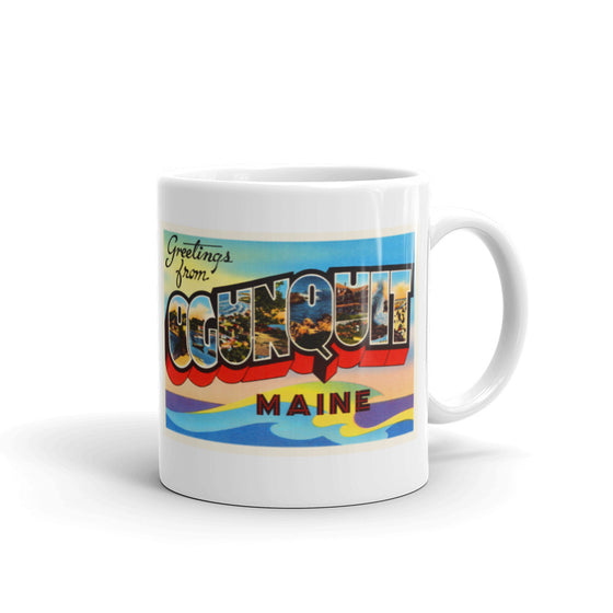 Mug – Ogunquit ME Greetings From Maine Big Large Letter Postcard Retro Travel Gift Souvenir Coffee or Tea Cup